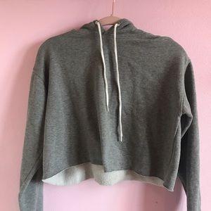 cropped grey hoodie